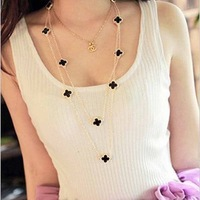 Free Shipping Black and White Clover Long Necklace Doubld Strand Flower Necklace Four Leaf Necklace for Women