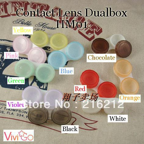 500pcs/lot HOT SALE Free shipping color contact lens cases, eye contact Box for Freshlook lens 100% brand new mixed colors(China (Mainland))