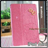 Deluxe leather case for ipad mini,Luxury Hello Kitty Premium stand leather case with retail package for ipad mini+Free Shipping