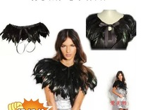 Free Shipping  Popular accessories jiajia black feather false collar necklace cape V3625