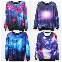 Sale!!2013 Women galaxy Top Space Printed galaxy Hoodies lady galaxy sweatshirts high quality Free Shipping
