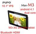 "Newest! in stock 3G tablet PiPo M3 Dual Core 10.1"" IPS 1280x800 RK3066 1.6GHz 1GB 16GB Dual Camera bluetooth HDMI 3g sim slot"