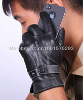 New Fashion Black Men's 3-Lines Winter Warm Driving Gloves PU Leather Lined L