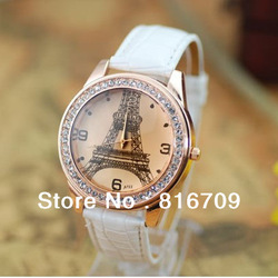 New Women Casual Luxurious Imitation Diamond Eiffel Tower Wristwatches 4 Colors Ladies&#39; Quartz Watches Leather Free Shipping(China (Mainland))