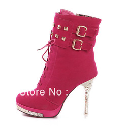 2012 fashion discount women's winter boots clearance, red and black color waterproof zipper in the barrel, free shipping(China (Mainland))