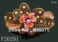 wholesale vintage Bronze crystal rhinestone alloy fashion hair clips hair accessories,12pcs mix colors  F20291