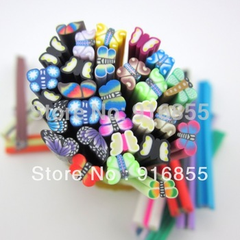 Free Shipping!100pcs 3D Mix  Butterfly Fimo Clay Slice Nail Art Tips UV Acrylic Decoration Wheel DIY nail material