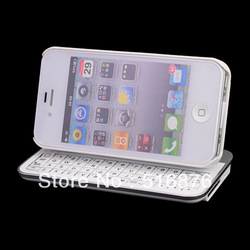 New Bluetooth Sliding QWERTY Keyboard & Hard Back Case Cover for iPhone 4/4S white(China (Mainland))
