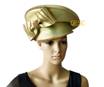 Metallic gold  All Year Around Kentucky Derby Hat  Church  Formal Hat Dress  Hat with Rhinestones band.