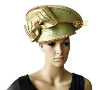 Metallic gold  All Year Around Kentucky Derby Hat  Church  Formal Hat Dress  Hat with Rhinestones&bow
