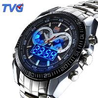 2014 new fashion men's tvg luxury waterproof outdoor sports dual display led military quartz watch  ,free shipping