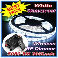 Wireless LED RF Dimmer !!! Flexible White , Cool White , Warm White LED Strip Light Lighting 5050 SMD 300Leds 5m Waterproof IP65