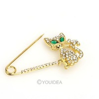 Wholesale - 2013 Jewelry NEW 4PCS Fashion Bridal/Wedding Cute Cat Brooch Alloy Rhinestone Pin 60072