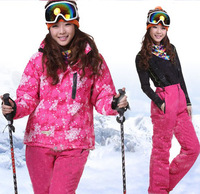Female ski suit thermal cotton-padded jacket set women's outdoor jacket outdoor trousers skiing pants set windproof waterproof