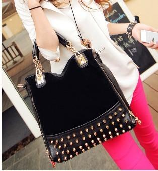 Free Shipping Big Brand Style Autumn and Winter Vintage  Rivet  Fashion Double Zipper  Women Handbag,Messenger bag
