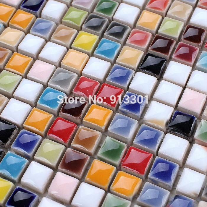 ceramic tile sheets iridescent mosaic art pattern kitchen backsplash