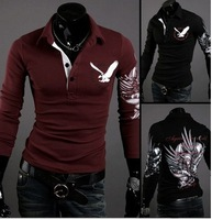 Men's Casual Trendy Slim-Fit Tattoo Graphic Printed Design   Collar T-Shirt