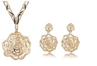 Free Shipping  Fashion Retro Rose Flower Necklace Earrings Set Branded Design 18K Gold Plated with Sweater chain (2-Colors)
