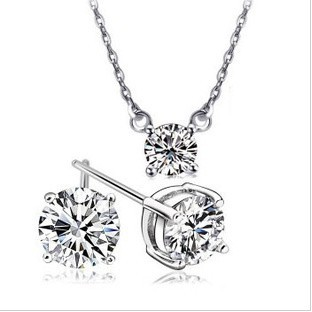 Special Offer/Sparkling Imported Zircon Necklace/Earrings Wedding/Birthday Fashion Ladies' Jewelry Set(China (Mainland))