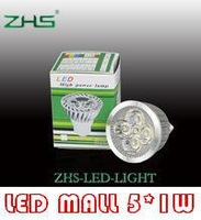 Turner aluminum housing 85-265V LED 5*1W Spot light GU10 GU5.3 E27 MR16 5W led bulb lamp free shipping 5pcs per lot