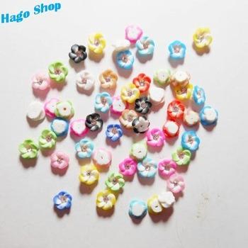 Free Shipping (120pcs/lot) Fashion Multicolour 3D Nail Art Flower 5mm Resin Flower 3D Nail Tips Decoration