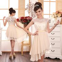 light yellow party dresses lace shoulder plus size  Irregular hem  wedding party dress bridesmaid dresses