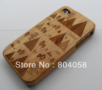 Free shipping Wholesale New Real Natural Bamboo Wood Wooden Hard Case Cover For iPhone 4 4S Pyramid