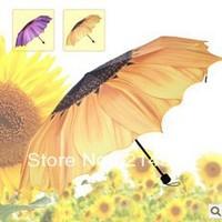 Brand New Sunflower 3 folding Umbrella personalized Umbrella two Colors UV umbrella free shipping