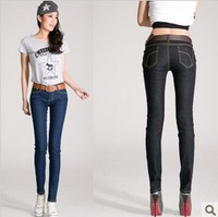 New simple leisure Slim Pencil blue black woman in jeans size all-match pants Free Shipping