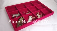Wholesale Free Shipping  4 Rose  Red  Velvet 12 Slot Jewelry Organizer Display Box Tray Holder Show Case Stand