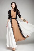 SD78 New Silk chiffon Maxi Long Dress Plain color  full linning lace dress  Plus size drop shipping support