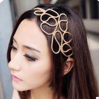 MOQ $5 Trendy Gold Elastic Headbands Hair Rope Weave  Hair ornament Z-E6004 Free shipping