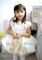4pcs children girl princess lace dress beige color girl's dresses size 80 90 100 110