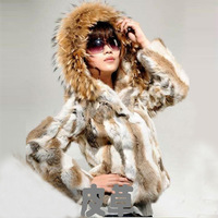 2014New Fashion Rabbit Fur With Hoodies Outerwear Fur Jacket For Women Hot Short Natural Fur coat for Lady 131114-1
