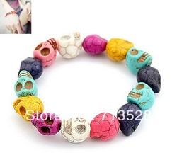Min order $10 (mix order) Color Skull Bracelet (random) free shipping(China (Mainland))