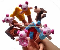 100set Plush Finger Puppet Toy The Fairy Tale The Three Little Pigs Children Toys Finger Puppet Children Gift Idea