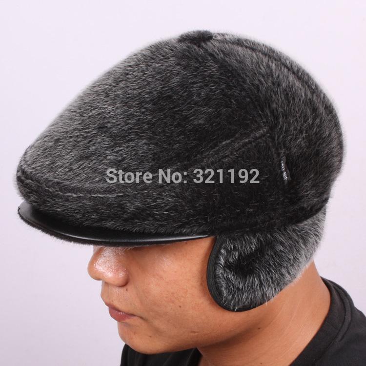 hot sale Quality seals wool hat male ear warm hat outdoor quinquagenarian winter fur hat 54CM-60CM R96(China (Mainland))
