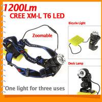 1200 Lumen Zoomable CREE XML T6 LED Headlamp Headlight + LED Front Bike Head Light Bicycle Lamp + Desk Lamp