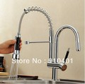 Factory directly sell!Luxury 100%solid brass chrome finish kitchen faucet  dual spouts spring sink mixer swivel spout tap