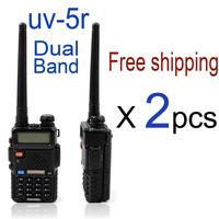 free shipping 2pcs/lot baofeng uv-5r uhf vhf dual band two way radio set handheld radio station walkie talkie