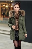 2014 Women Women's Cotton-padded Jacket Plus Size Medium-long Outerwear Winter Army Green  Wadded Jacket