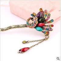 Korea Peacock Bohemian National Wind Classic Retro Imitated Diamond Tassel Step Shake Hair Clasp Hairpin