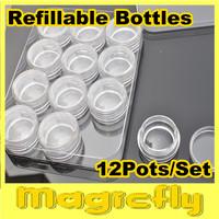 [BZ-005]6x12pots/set With Box Grid Nail Case Storage Art Clear Glitter Dust Powder Empty Jar Bottle + Free Shipping