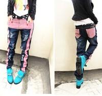 H909 mainstream hip-hop baggy pants fashion stripes jeans with hole 2014