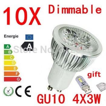 10X  High power CREE GU10  E27 GU5.3 E14 4x3W 12W 85-265V Dimmable Light lamp Bulb LED Downlight Led Bulb Warm/Pure/Cool White