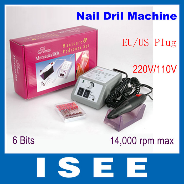 2014 Brazil Glazing Electric Nail Art Drill Manicure Machine Kit + 6 Bits+ Foot Pedal Low Noise, Low Vibration Free Shipping(China (Mainland))