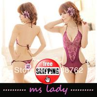 Hot Sex New Women Purple Lace Transparent Bodysuit Bikini Teddy Lingerie 10pcs/lot Free shipping HK Airmail