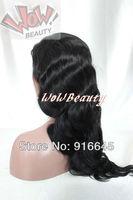 "WoW Beauty;100% Brazilian virgin remy human hair Full lace wig 8""-24"", #1jet black, body wave DHL FREE SHIP"