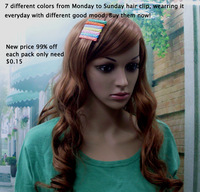 (Min order$15!) 7 Colors Week Day Plastic 7 days Barretts Hair Clips 7 pcs per pack Free