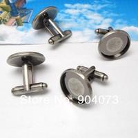 free shipping,100pcs/lot 16mm round Antique silver cufflinks blank cuff link base, metal,fashion jewelry